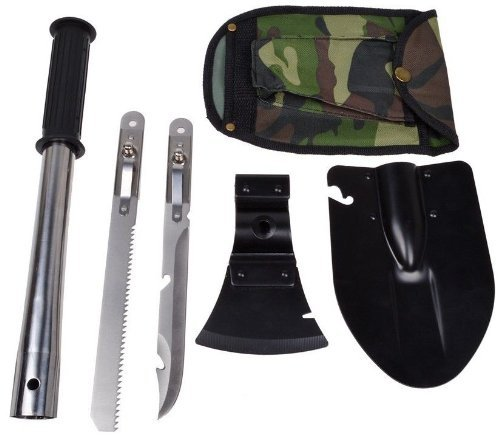 9-in-1 Military Ultimate Survival Kit Tools Emergency Camping Hiking Knife Shovel Axe Saw Gear Kit Tools Backpacking , Fishing, Trench Entrenching Tool, Car Emergency Shovel