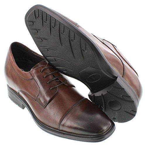 G-CALTO 60110-(3 7,62 cm, altezza Inches)-Tappetto aumentare ascensore Scarpe con lacci, colore: marrone scuro, con piedi)