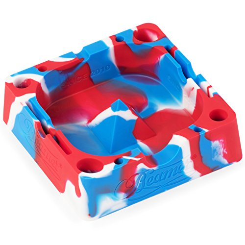 Red/White/Blue Beamer Silicone Premium AshTray w/ Glass Friendly Tapping Center Unbreakable Shatter / Heat Resistant up to 570°F! Holds cigarettes Blunts Most Cigars Cigarillo Lighters Rolling Paper