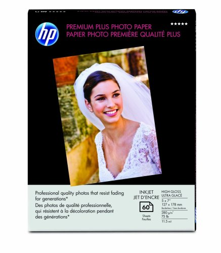 HP Premium Plus Photo Paper, High Gloss, (60 Sheets, 5 x 7 Inches borderless)