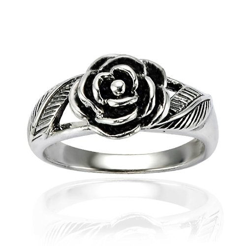 - Chuvora 925 Oxidized Sterling Silver Detailed Rose Flower with Leaves Band Ring - Nickel Free Size 8