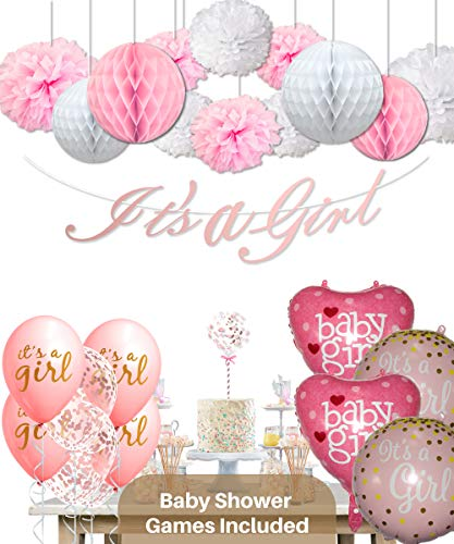 Baby Shower Decorations for Girl and Games - 47 Pcs Baby Shower Party Supplies for Girl ()