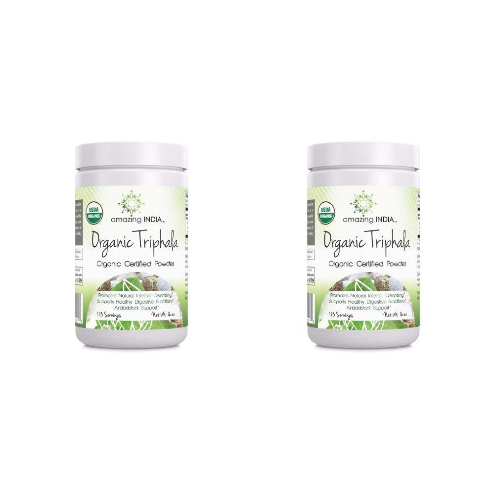 Amazing India Organic Triphala Powder - 16 oz-Raw, Vegan- Gluten-Free, Plant-Based Nutrition Supports Detoxification and Regularity, Promotes Digestive Health, Supports Liver Function (Pack of 2)