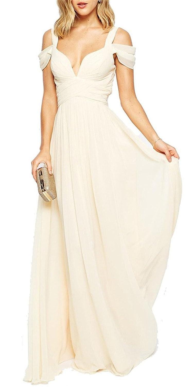 Eudolah Women's Maxi Long V-neck Chiffon Ball Gown Evening Prom Party Dress