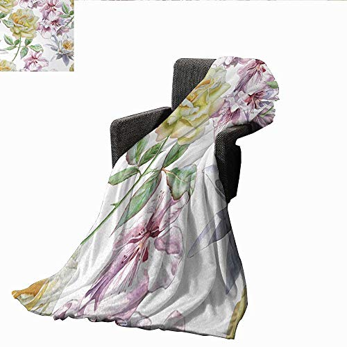 XavieraDoherty Weighted Blanket,Floral,Rose Petals Sakura Lily Flowers Blooms Romance Florets Design,Light Pink Yellow Fern Green,Indoor/Outdoor, Comfortable for All Seasons 70