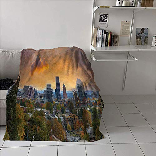 Suchashome Oregon Blanket Soft,City of Portland in Autumn Season Downtown and Business District Urban Photography,Plush Throw Blanket,Warm All Season Blanket for 54