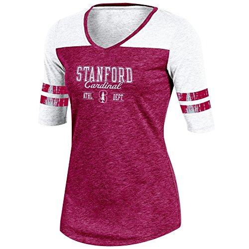 Champion Adult NCAA Women's Trend Captain Half Sleeve V-Neck Tunic Tee, Cardinal Heather, Small