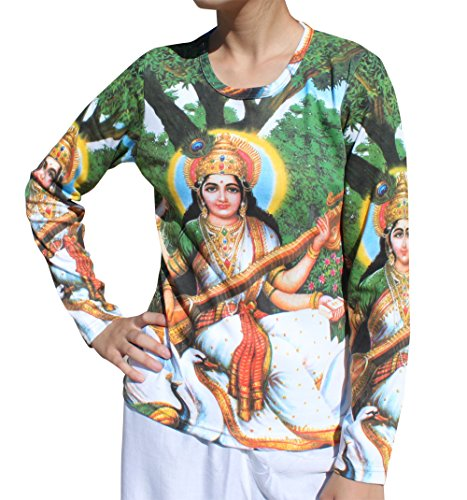 Raan Pah Muang RaanPahMuang Brand Hindu God On Lotus With White Swan Long Sleeve Ladi, - Ladi Di