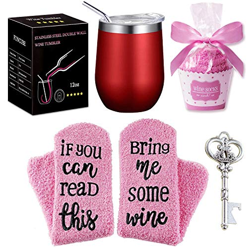 Wine Tumbler + Cupcake Wine Socks Gift Set | 12 oz Stainless Steel Double Insulated Stemless Wine Glasses with Lid and Straw, Bonus Key Bottle Opener, Perfect Gift for Women Girls Mom Lovers Friends