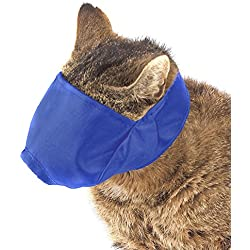 Guardian Gear Nylon Cat Muzzles — Durable, Effective, and Comfortable Muzzles that Prevent Cats from Biting and Chewing - Large, Blue