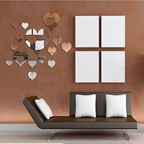 Bessky 15PCs Home 3D Removable Art Decor Wall Stickers Heart Shape Living Room Decoration