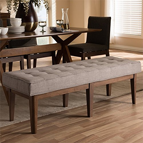 Baxton Studio Lucca Button Tufted Dining Bench in Gray