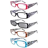 Eyekepper 5-Pack Spring Hinge Floral Arms Reading Glasses Includes Sunglass Readers +1.5