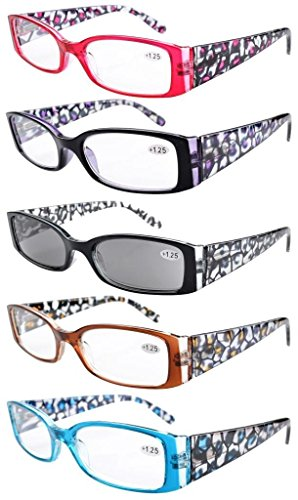 Eyekepper 5-Pack Spring Hinge Reading Glasses Floral Arms Includes Sunglass Readers +2.5