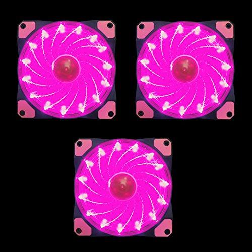 APEVIA AF312L-SPK 120mm Pink LED Ultra Silent Case Fan w/ 15 LEDs & Anti-Vibration Rubber Pads (3-pk) by Apevia