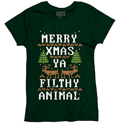Merry X Filthy Animal Ugly Christmas Sweater Funny Gift Ideas Ladies T-Shirt 51MNv1F8B2L
