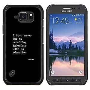 LECELL--Funda protectora / Cubierta / Piel For Samsung Galaxy S6Active Active G890A -- cartel texto blanco negro educación cotización --