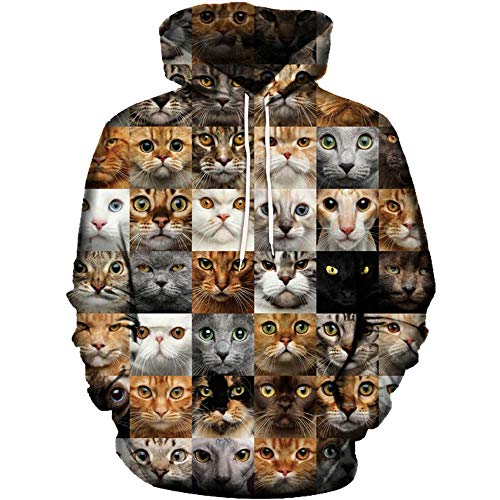 Realdo Unisex 3D Cat Print T-Shirt Long Sleeve Tops Tee ()