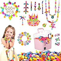 Enzone Snap Pop Beads Jewelry Making Kit Beads for Kids Girl Toys for 3 4 5 6 7 8 9 Year Old