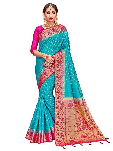 ELINA FASHION Sarees Women's Banarasi Art Silk Woven Work Saree l Indian Wedding Ethnic Sari & Blouse Piece (Teal)