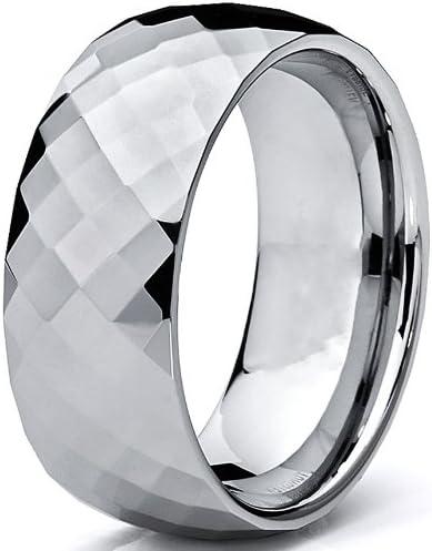 8MM Bague De Mariage Tungstene Multi-facette Pour Homme Ultimate Metals Co