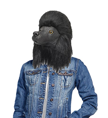 Latex Dog Costume (Lubber Poodle Dog Costume Cosplay halloween Creepy latex animal head mask black)