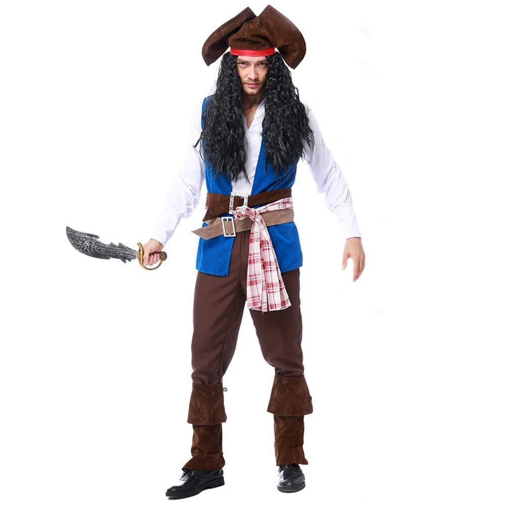 MYLEDI Halloween Herren Piratenkostüm -Rollenspiel Festival Dress Up,Weiß+Blau+Braun,XL