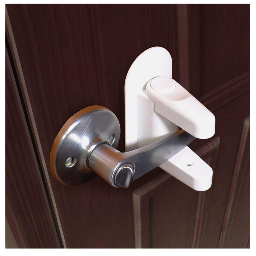 Amaping Door Lever Lock (2 Pack) Child Proof Doors & Handles Adhesive for Child Safety (White)