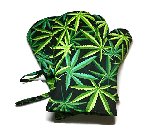 Handmade Oven Mitts Cannabis Marijuana Pot Leaves Alexander Henry