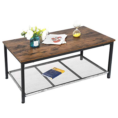 SUPER DEAL Newest Coffee Table Rustic Vintage Cocktail Table Living Room Furniture with Large Metal Lower Storage Shelf, Rustic Brown