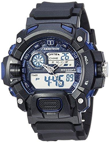 Armitron Sport Men's 20/5229BNV Navy Blue Accented Analog-Digital Chronograph Black Resin Strap Watch