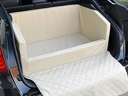 Travelmat Plus Kofferraum Hundebett Fürs Auto 90x70 Cm Kunstleder Creme Haustier
