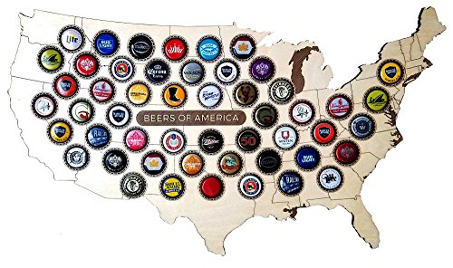 USA Beer Cap Map Beer Cap Display - Domestic and Craft Beer Bottle Cap Holder - Man Cave Décor, Bar Decor with 51 Slots - 22 x 12 Inches (Decor Beer Tap)