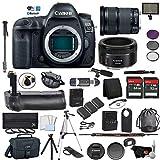 Canon EOS 5D Mark IV Full Frame DSLR Camera Body - Bundle with EF 24-105mm f/3.5-5.6 is STM Lens + EF 50 F 1.8 STM Lens Battery Grip + Microphone + More (International Version)
