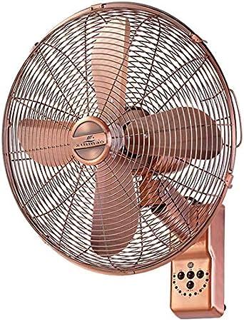 XIAOYU Soporte Ventilador Ventilador de pie - 16 Pulgadas, girando Ventilador de Pared, Ventilador de Metal Retro con Control Remoto y función de temporización