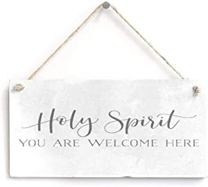"No branded Rustic Wood Plaque,Wood Quotes Wall Decor,Funny Wall Hangings Decor,Decorative Word Signs,Holy Spirit You are Welcome Here Come Here Home Decor for Home Living Room Bedroom 16""x8"""