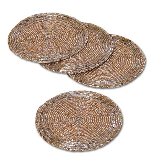 - WHW Whole House Worlds Crosby Street Shimmer and Chic Round Coasters, Set of 4, Each 4 1/4 Inches Diameter, Chilled Rose, Glass Beads, Silver Filigree Wire, Organza Bag