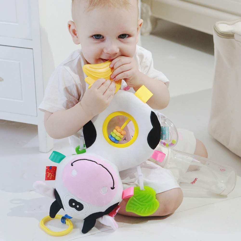 DOMIRE Baby-h/ängende Puppe Nette Kuh klappert Abakus-Pl/üsch-Karikatur-Spielzeug-Spazierg/änger-h/ängendes Spielzeug