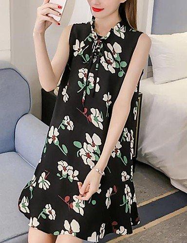 Damen Lose Kleid-Ausgehen Lässig/Alltäglich Einfach Niedlich Blumen Rundhalsausschnitt Übers Knie Ärmellos Polyester Frühling Sommer , 3xl