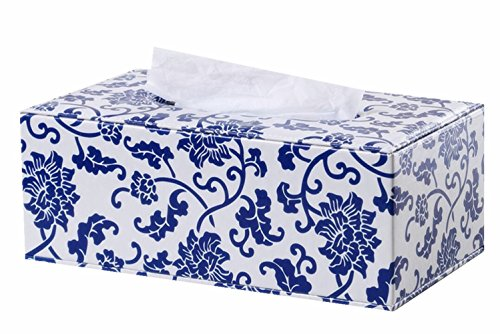 S Forever Blue and White Porcelain Pattern Pumping Tray PU Leather Rectangular Tissue Box Cover (Large)