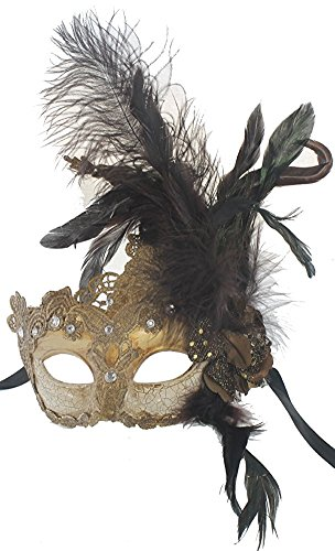 Hagora, Women's Vintage Venetian Carnival Black Feathers And