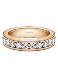 14k Gold Twelve Stone Channel Set Straight Wedding Ring with Forever Brilliant Moissanite by Charles Colvard (0.5 ct. tw.)