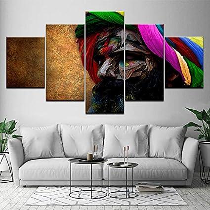Tocados Indios Coloridos Hombres Barbas Retrato Obras de Arte Sala de Estar 5 Panel hogar Pared Arte decoración Madera Marco Tela carteles-30x40cm/60cm/80cm