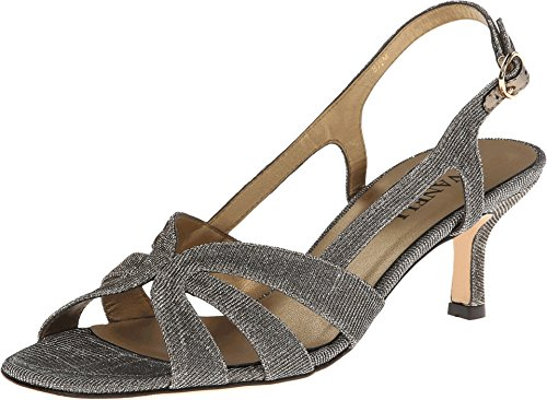 Vaneli Women's Maeve Platinum Nizza Fabric/Gold Buckle 8 N (AA)