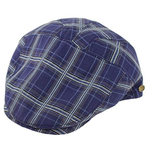(Epoch Men's 100% Cotton 7 Panel Ivy Mixed Pattern Driver Cabby Flat Cap Hat L/XL Plaid Navy)