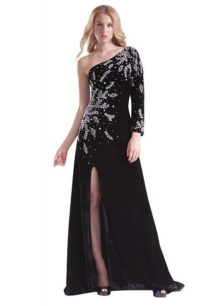 Vestido de terciopelo negro con perlas