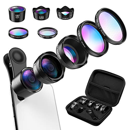 AMIR Camera Lens Kit, 0.4X Super Wide Angle Lens + 180° Fisheye Lens & 10X Macro Lens (Attached...