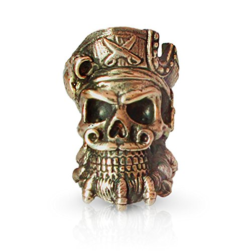 Paracord Pirate Skull Bead for Making DIY Bracelet or EDC Lanyard - Unique Design - Hand-Cast in Solid Brass, Blackened & Polished from Unique Handmade Arts & Crafts