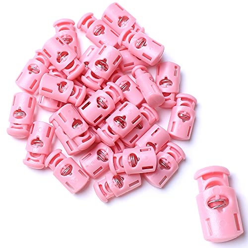 AXEN 30PCS Plastic Cord Locks End Spring Stopper Fastener Toggles for Shoelaces, Drawstrings, Paracord, Bags, Clothing and More, Pink
