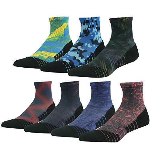 Hiking/ Trekking Socks, HUSO Classic Colorful Printed Smooth Toe Seam No Blister Outdoor Socks for Men Women,7 Pairs (Assorted,L/XL) (Outdoor Quarter Socks Womens)